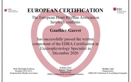 illustration Double certification Européenne en cardiologie pour Dr Garret
